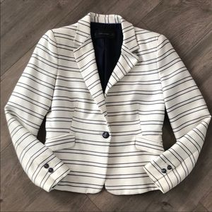 Zara Basic White and Blue Striped Anchor Blazer